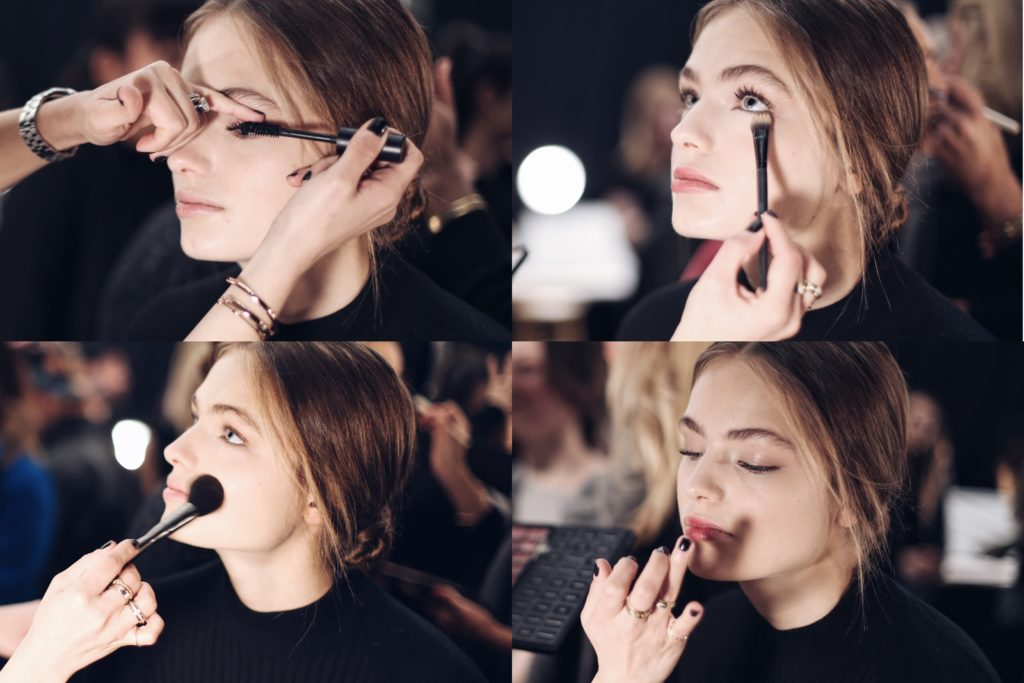 Simply Sona working backstage at the Marchesa NYFW with Bobbi Brown
