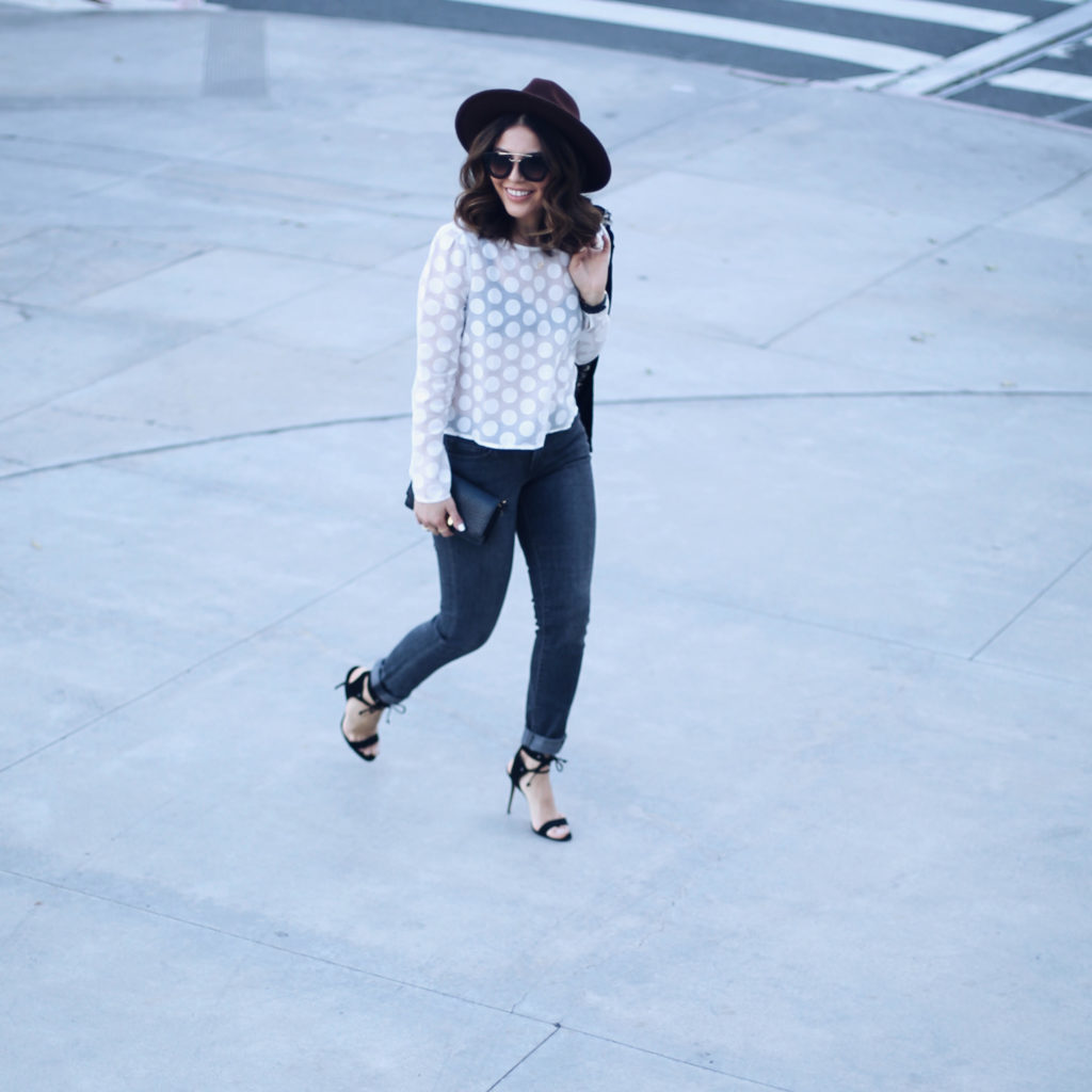 Simply Sona polka dot shirt