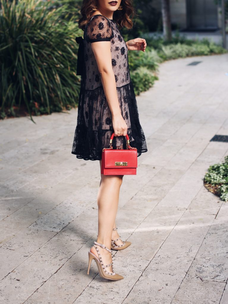 Simply Sona wears a Valentino dress and Rockstud Two-tone leather pumps