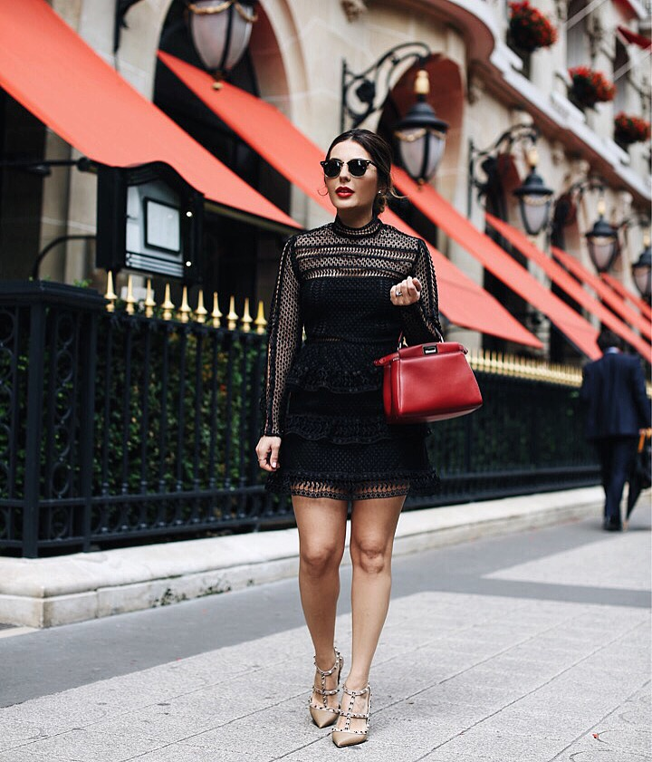 Self Portrait Dress with Fendi Red mini peekaboo bag valentino studded shoes
