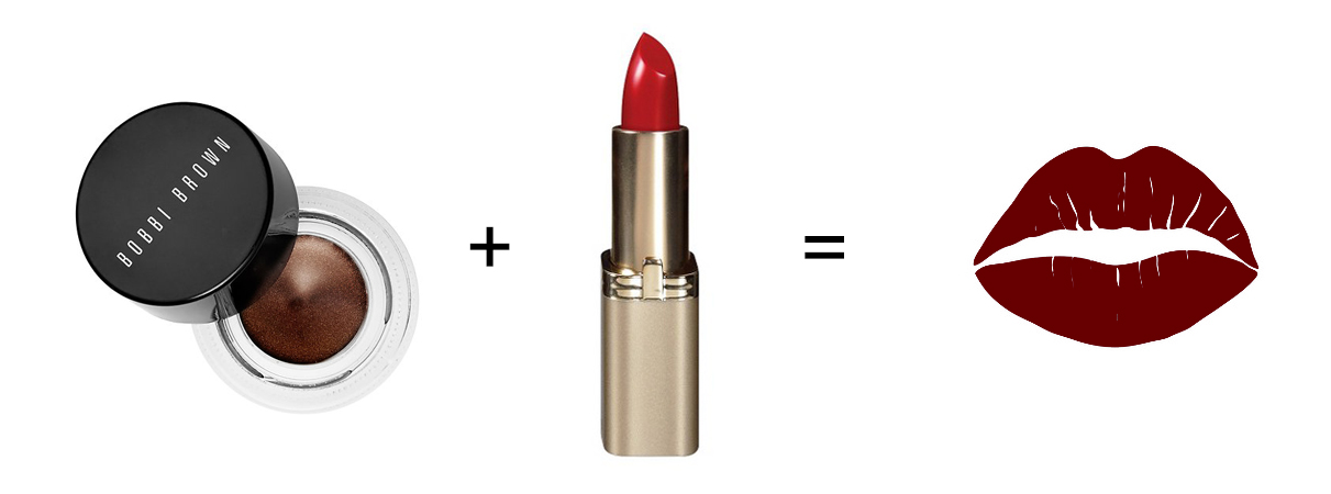 Create a DIY lipstick by blending a red lipstick and a brown gel liner.