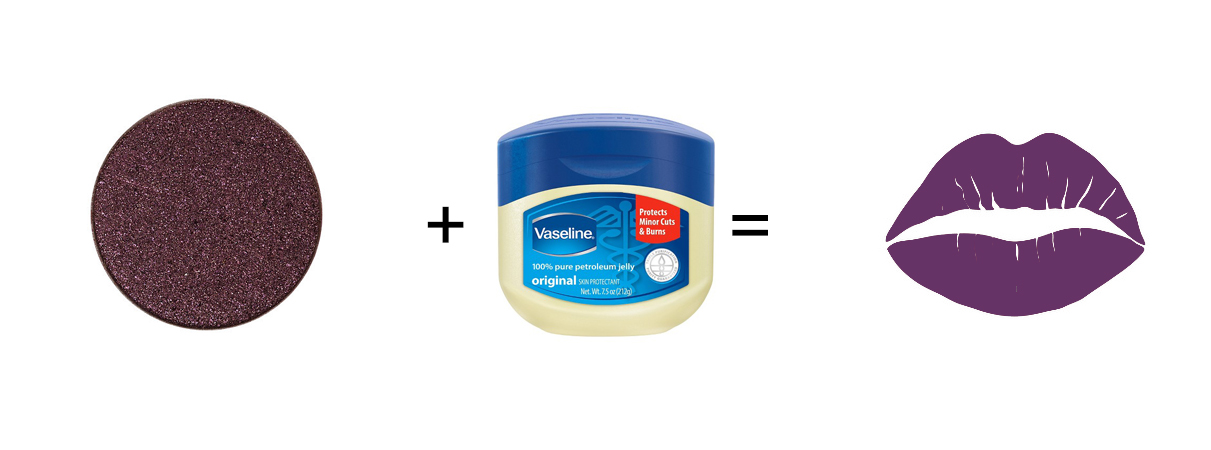 Pat eyeshadow on top of Vaseline for a DIY lipstick.