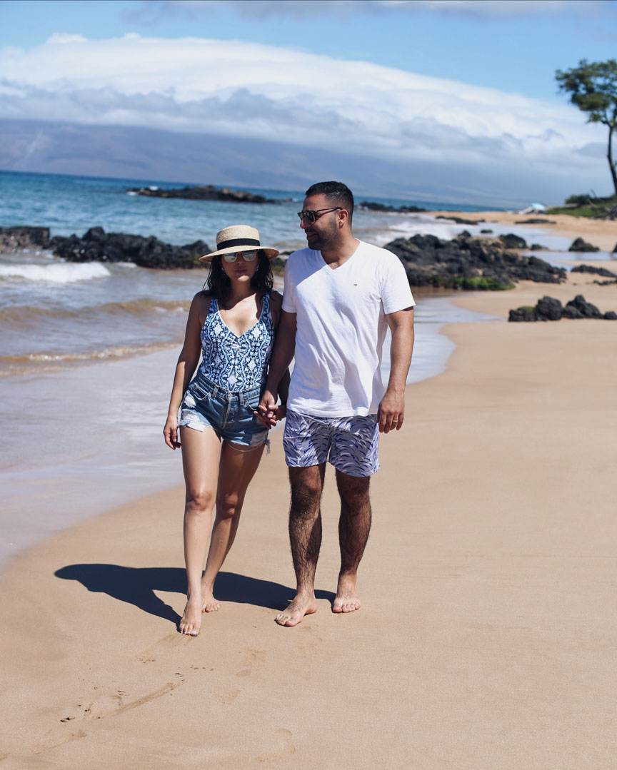 Sona and KB stroll the beaches of Maui