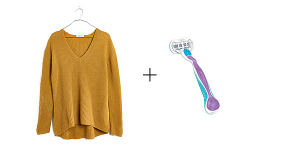 emergency fashion hacks- use a razor to remove pills from a sweater