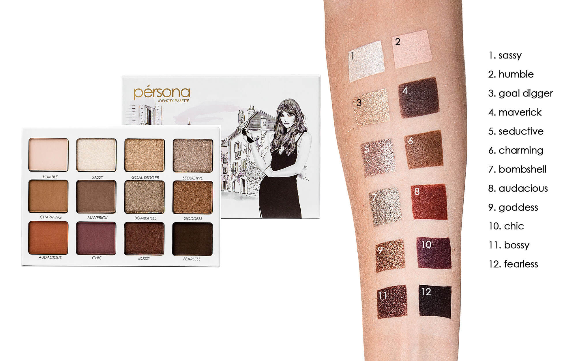 persona cosmetics identity palette swatches