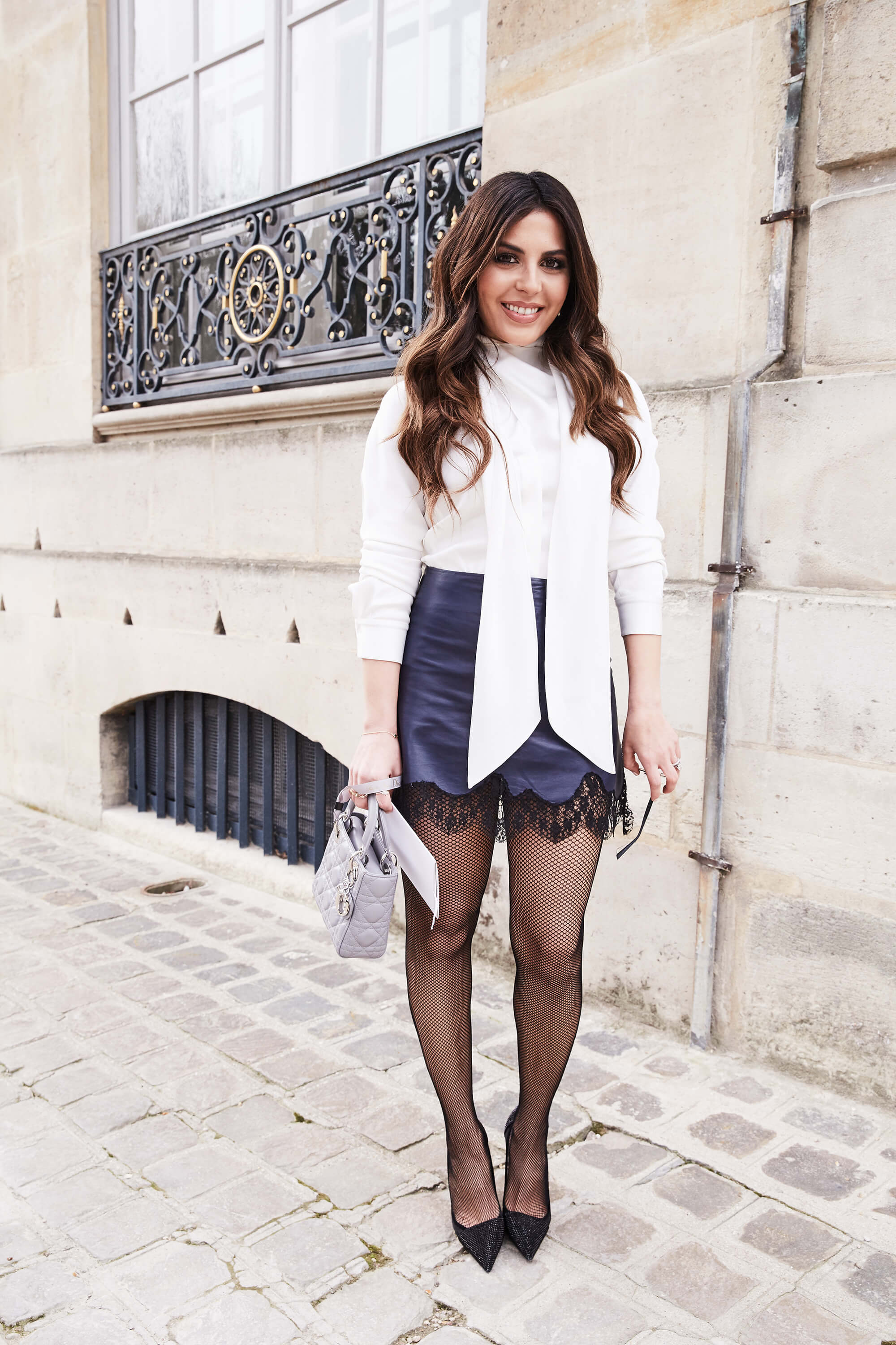 sona gasparian's outfit details at the dior show during paris fashion week