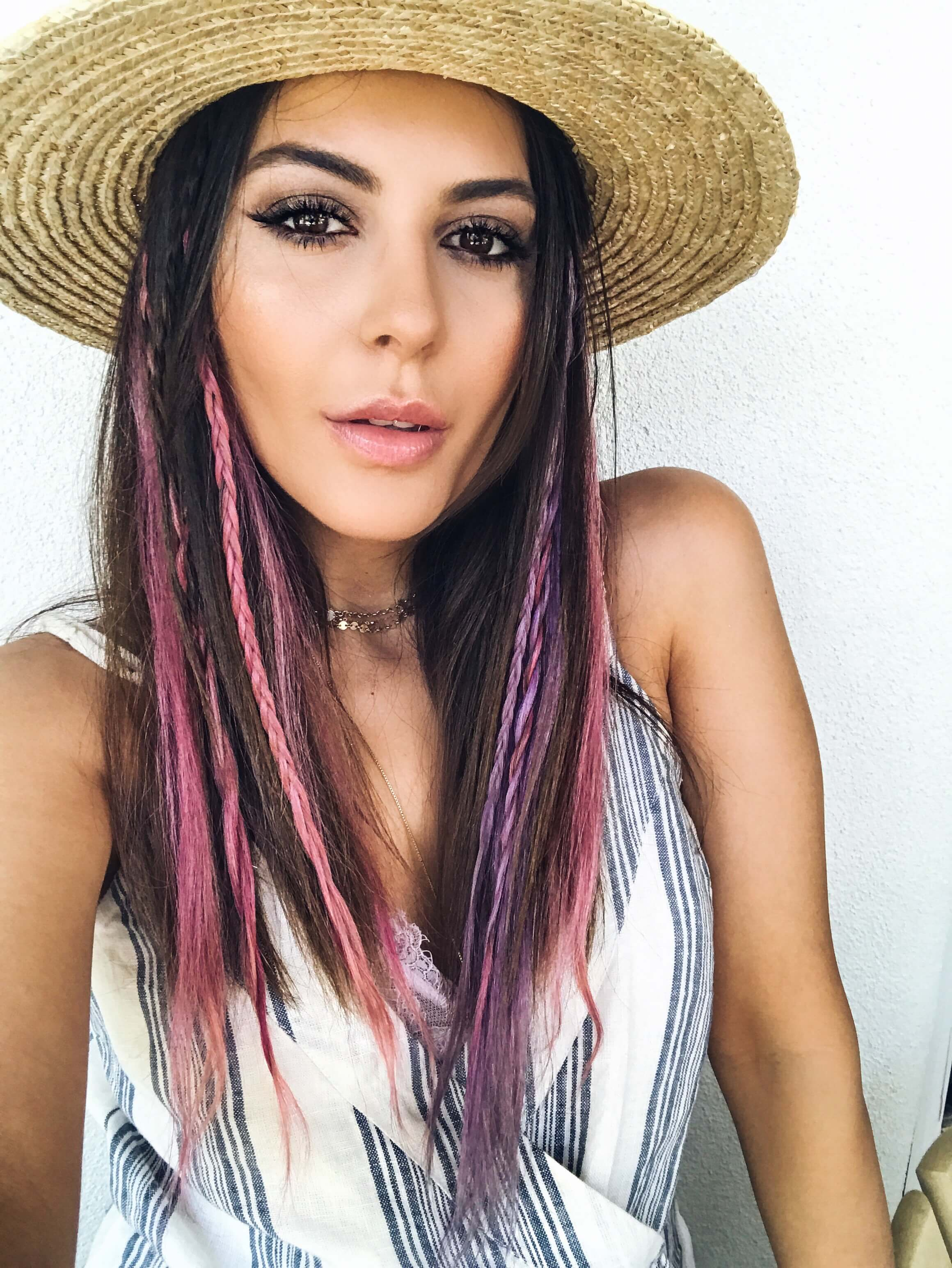 sona gasparian wears festival style pastel clip in extensions