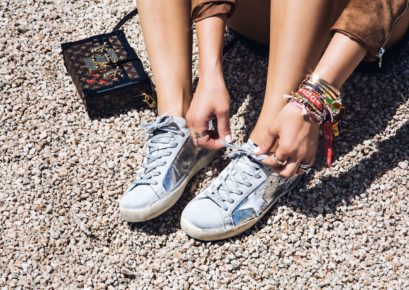 sona gasparian's festival style with silver sneakers