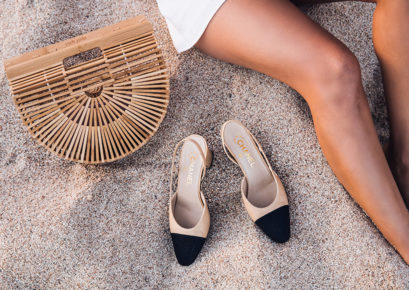 Details with a Cult Gaia Straw bag and Chanel slingback pumps in Sona Gasparian's little white dress summer look.