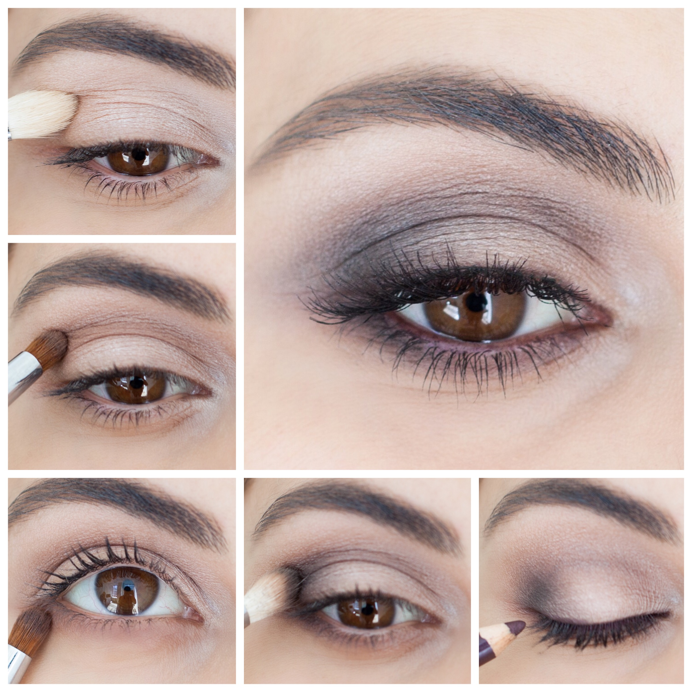 step by step brown smokey eye