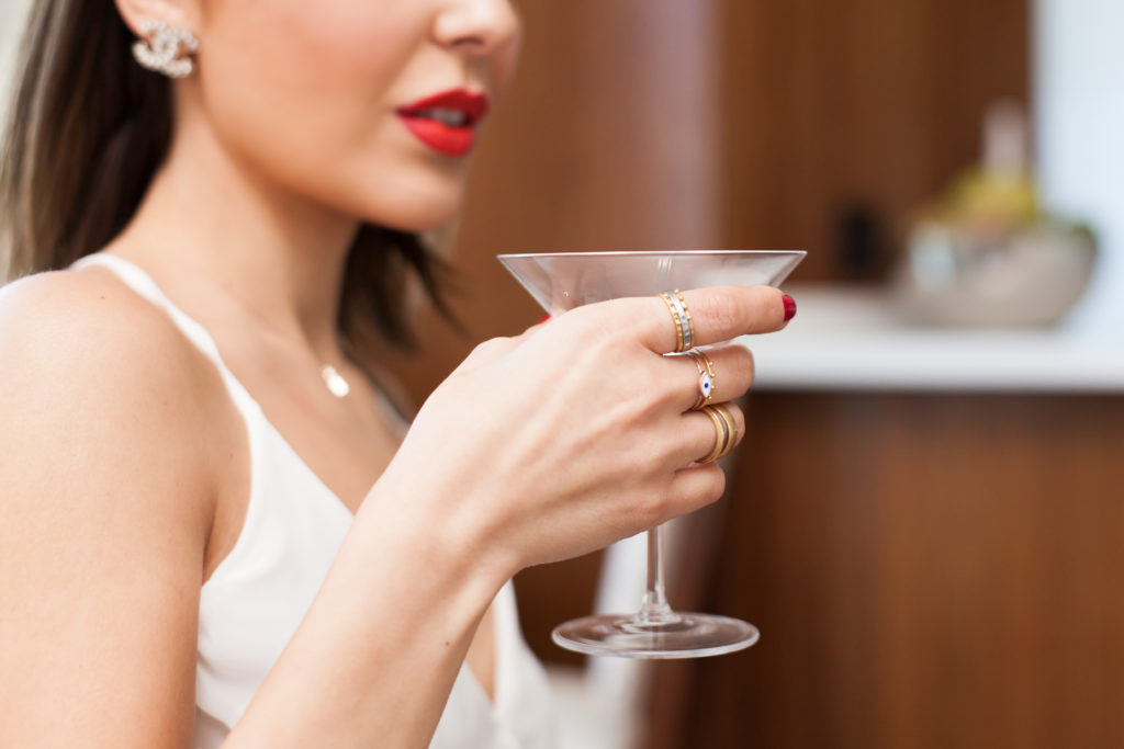 gold rings dainty martini glass red nails chanel earrings