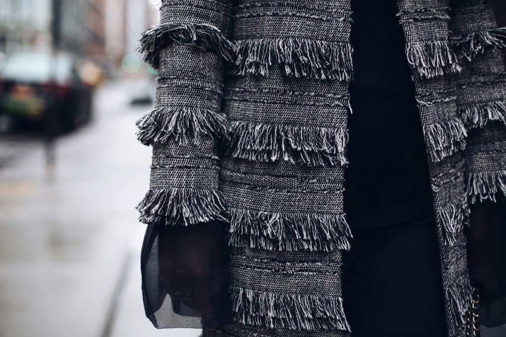 Simply Sona at New York Fashion Week wearing Intermix coat with fringe detailing