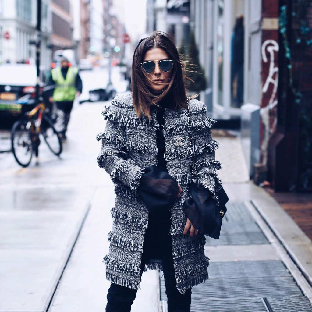Simply Sona at New York Fashion Week wearing Intermix coat