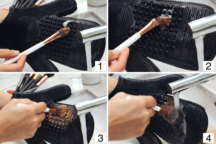 makeup brush cleaning is essential for clear complexion.