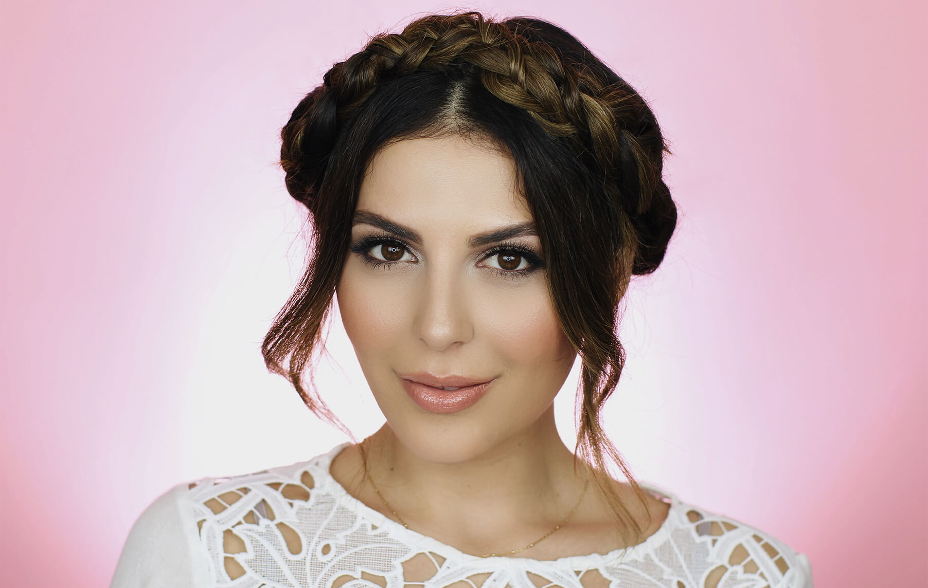 sona gasparian with a updo braids
