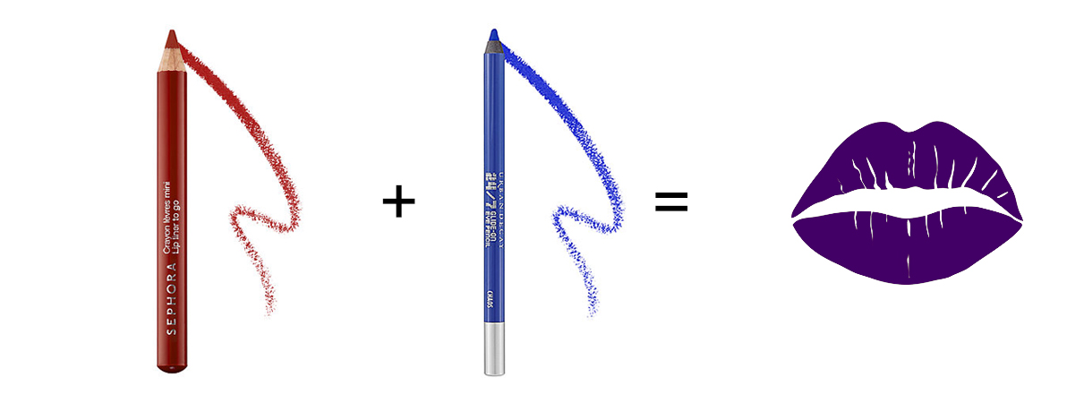 Mix red lip liner with blue eyeliner for a purple DIY lipstick.