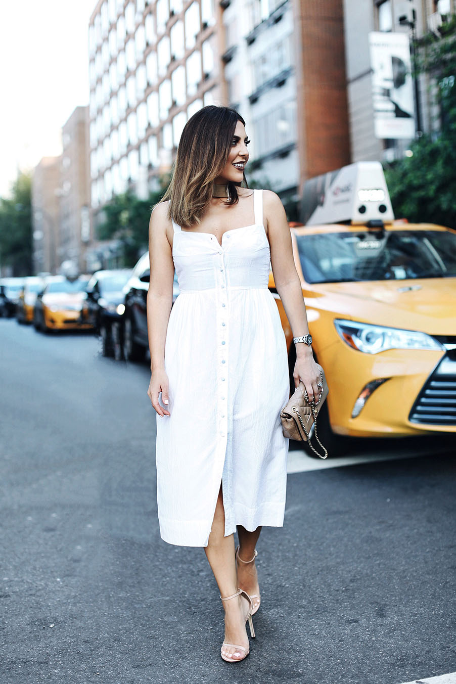Sona Gasparian wears a simple look at New York Fashion Week.