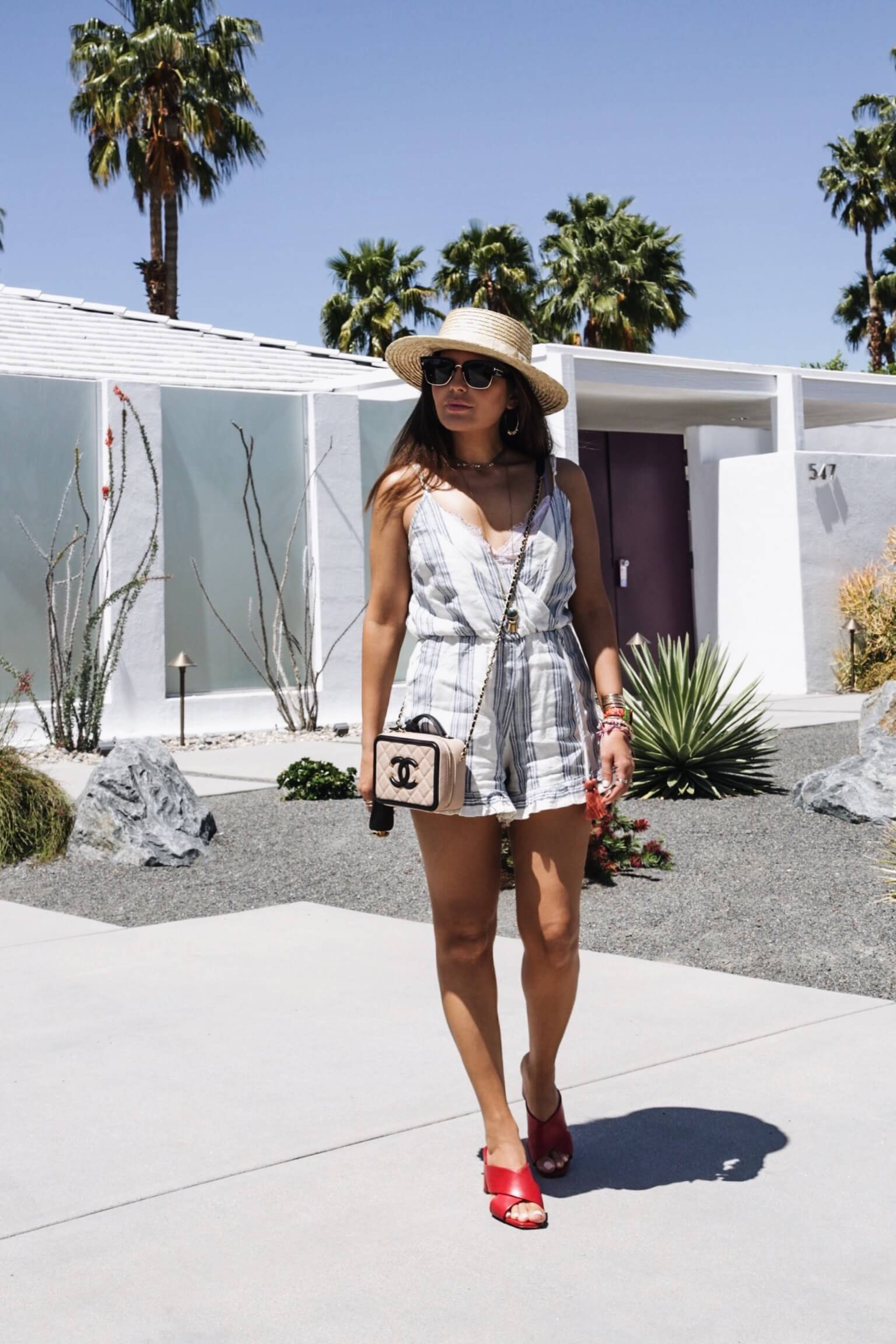 Sona Gasparian's spring look in a striped romper!