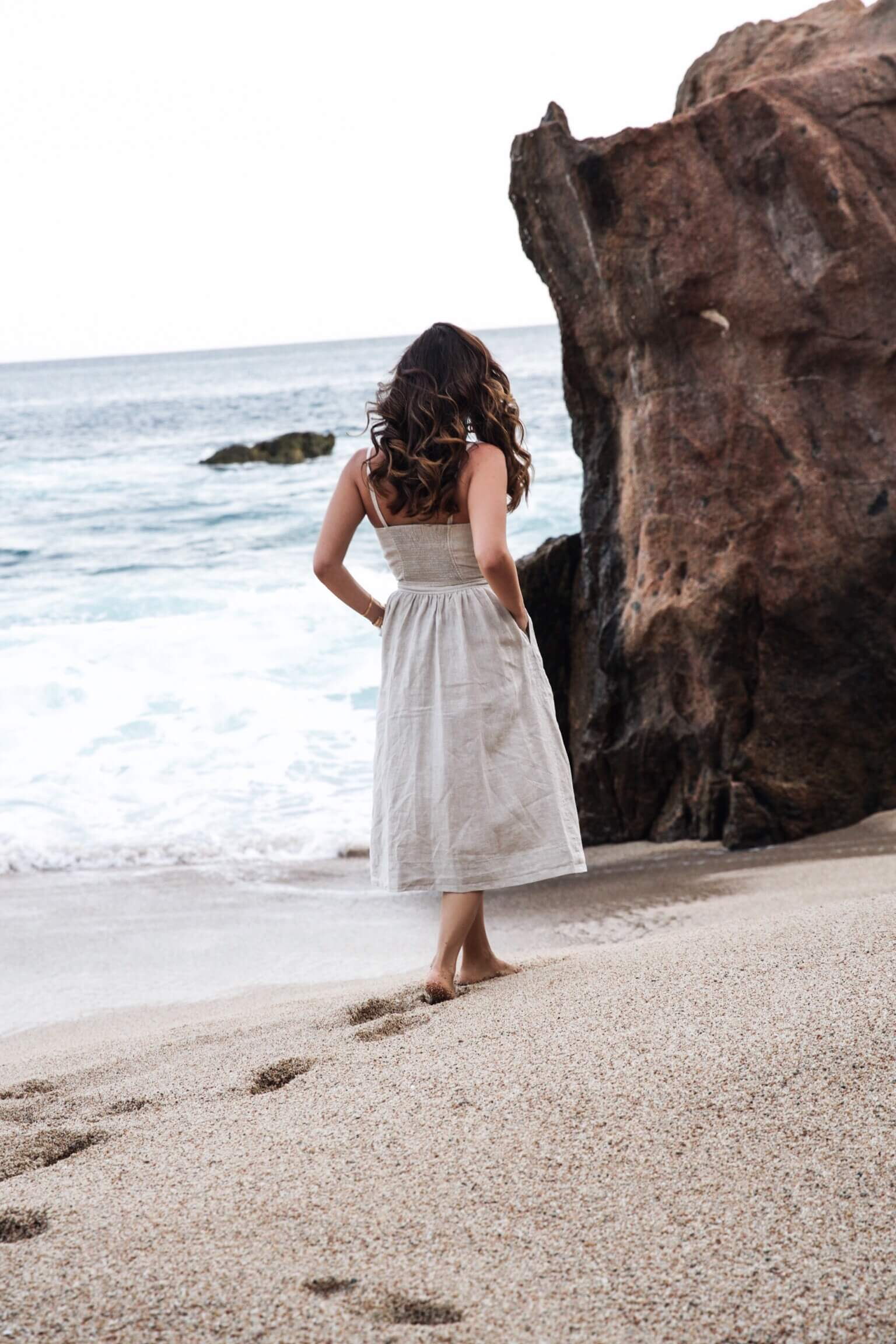 sona gasparian wears a preferct casual wedding guest dress in cabo
