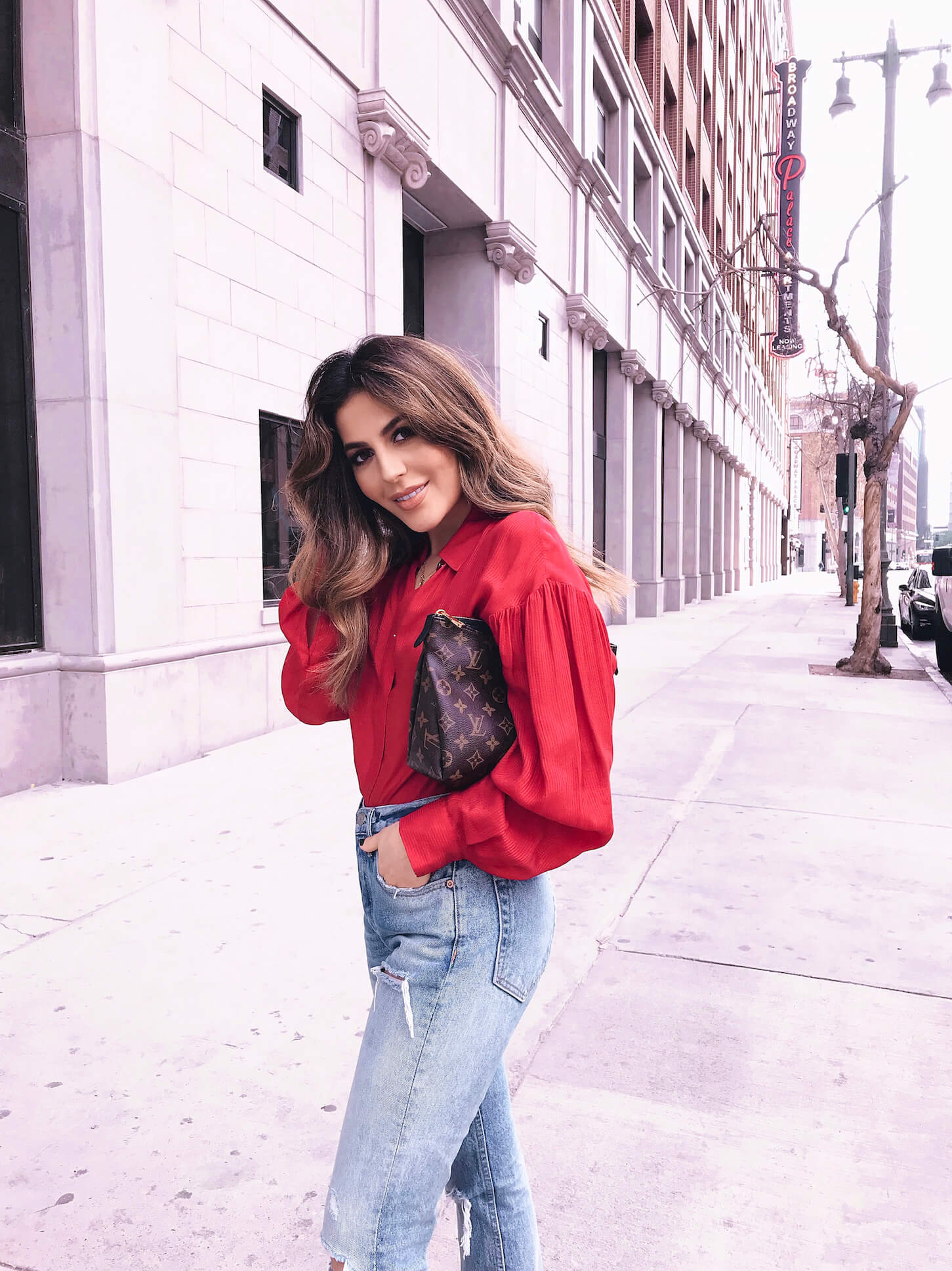 denim and red outfit