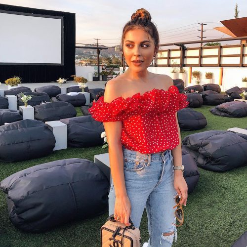 Rooftop Cinema Polka Dot Top Outfit