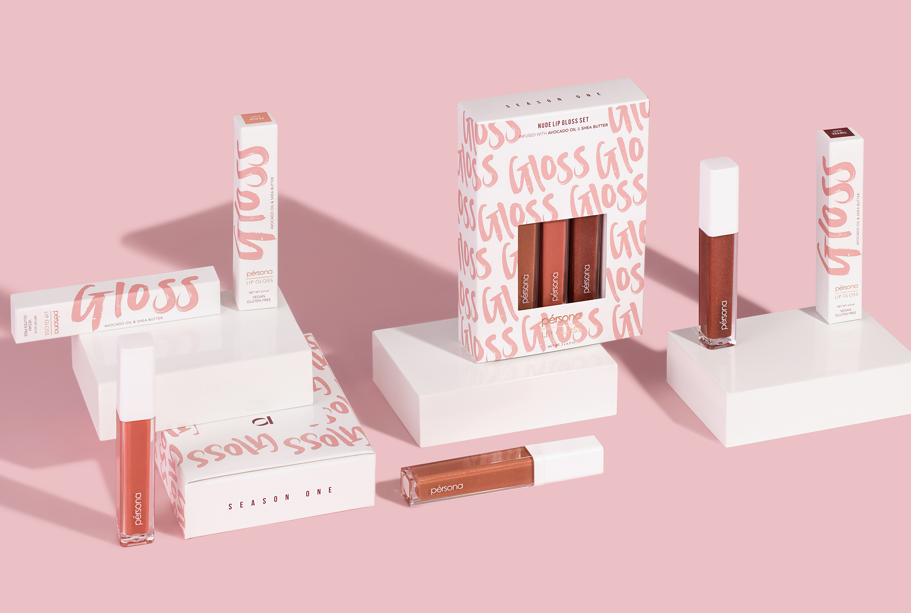 Persona cosmetics lip glosses